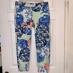 J. Crew Printed Skimmer Floral Mint Pants- Size 2